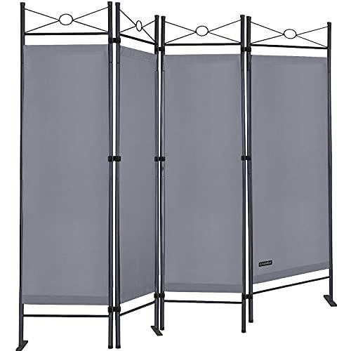 Deuba Paravent Lucca 180x163 cm Raumteiler Verstellbar 4 TLG Trennwand Spanische Wand Raumtrenner Sichtschutz - Grau