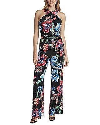 Tahari by ASL Crisscross Neck Jumpsuit Painted Blooms Black 14