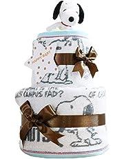 スヌーピー(snoopy) 出産祝い 2段 おむつケーキ 今治タオル パンパース テープタイプ S imabari towel ぬいぐるみ 女の子 男の子 男女兼用 ピーナッツ PEANUTS