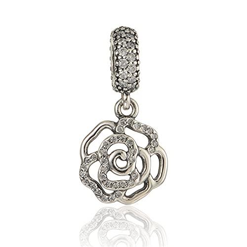 LISHOU DIY 925 Plata Esterlina Clear Rose Flower Colgante Brazaletes Crystal Charm Beads Fit Pandora Pulsera Collar para Mujeres Joyería Que Hace Regalo