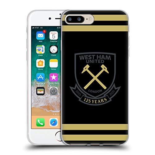 Head Case Designs Licenciado Oficialmente West Ham United FC Negro Oro Rayas Claret 125 Año Aniversario Carcasa de Gel de Silicona Compatible con Apple iPhone 7 Plus/iPhone 8 Plus