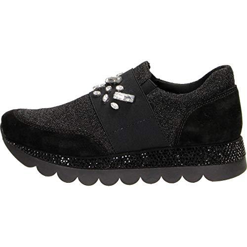 Cafè Noir JDB933010350 010 Nero 35 Sneakers Pantofola IN Stoff und Kristall MIT Elastischen und Rhinestones