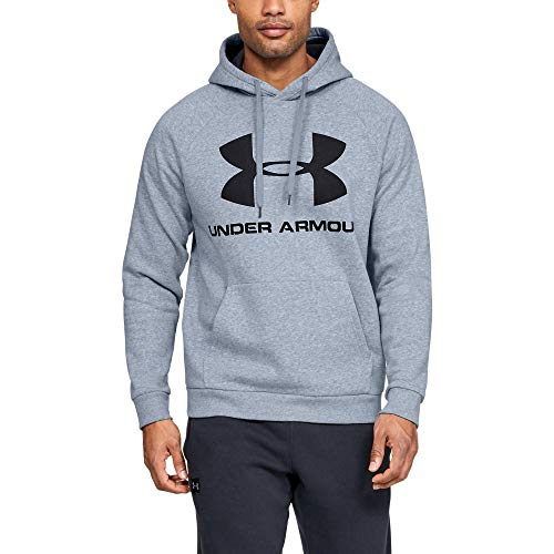 Under Armour Under Armour Men's Rival Fleece Sportstyle Logo Hoodie, Steel Light Heather (035)/Black, Large
