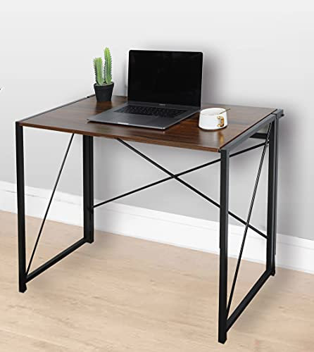 Folding Desk Workstation Foldable Computer Desk for Office Home Study Writing Table No Assembly Miami (Walnut)