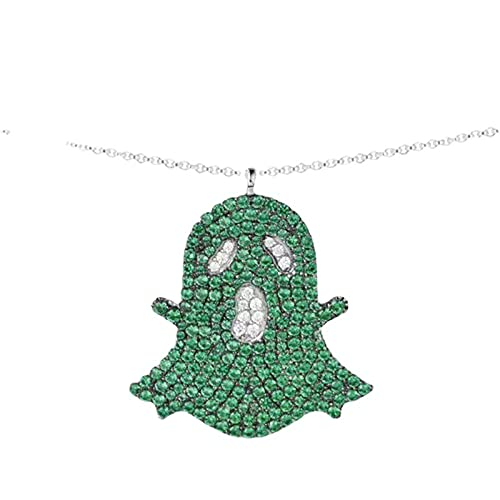 FPOJAFVN Collar De Fantasma Verde De Plata De Ley 925, Collar con Colgante De Fantasma Divertido Divertido a La Moda, Regalo De Joyería para Halloween,Verde
