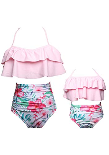 WIWIQS Bathing Suits Tankini Swimsuits for Mommy and Me High Waisted Retro Swimsuit Two Piece Pink 140