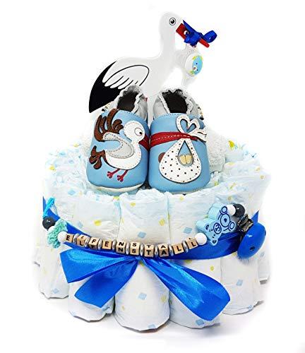 Elfenstall Windeltorte/Pamperstorte mit Lait et Miel Krabbelschuhe und Schnullertkette als tolles Geschenk/Geschenkset zur Geburt oder Taufe auf Wunsch mit Name des Babys