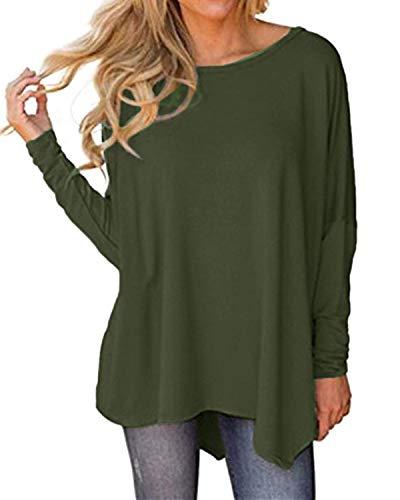 Auxo Donna Orlo Irregolare Blouse Manica Lunga Girocollo Shirt Manicotto di Batwing Top Verde Militare S
