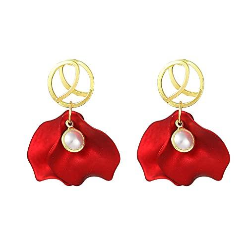SHUANGJ Silber Nadel Rose Blütenblatt rot Langen Stil Mode Neue Ohrringe Farbe Bewahren Ohrringe