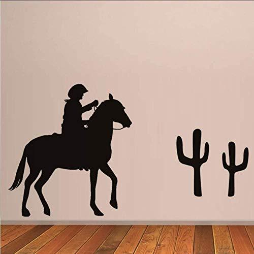 Hete verkoop Cowboy Rijden Paard Muurstickers Verwijderbare PVC Muursticker Wallpaper voor Woonkamer Huisdecoratie Muursticker 105 * 59Cm
