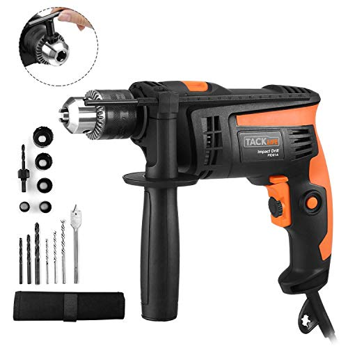Hammer Drill, TACKLIFE 1/2-Inch Electric Drill, 12 Drill Bit Set, 2800 RPM, Variable-speed Trigger, 360° Rotating Handle, Hammer Drill for Brick, Wood, Steel, Masonry - PID01A