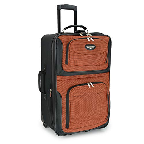 Travel Select Amsterdam Expandable Rolling Upright Luggage, Orange, Checked-Medium 25-Inch