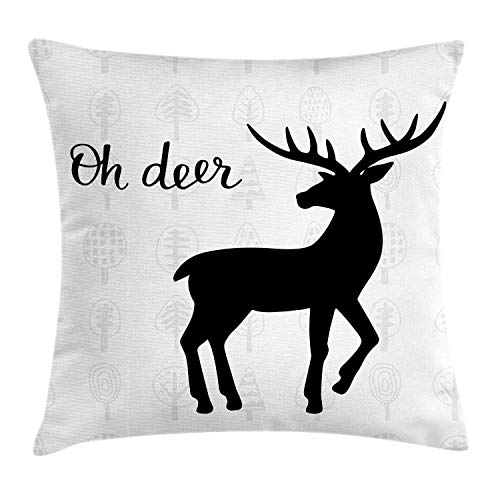 ZUL 3D Print Throw Pillow Covers,Woodland Animal with Cursive Wording and Trees on The Background,Decorative Square Cushion Covers Case for Sofa Couch Home Decor Thanksgiving Christmas