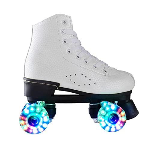 ZXSZX Rollschuhe Damen, Rollerskates Mädchen Roller Skates Mit LED-Licht Double Line Skates 4 Wheels Two Line Skating Schuhe Für Erwachsene,Weiß-45