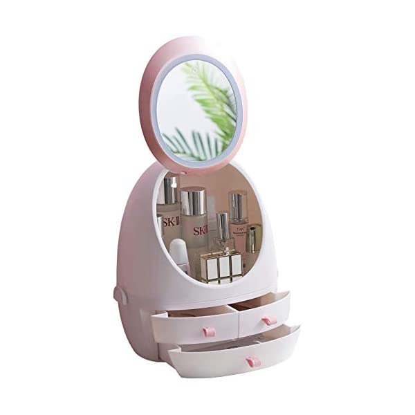 LED Mirror Makeup Organizer Case, Capacity Cosmetic Storage Box with Drawers Portable Adjustable Dressing Table Desktop Finishing Box Jewelry for Bathroom Countertop Bedroom Dresser