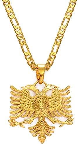 YZXYZH Collar Collares con Colgante De Águila De Albania para Hombres, Mujeres, Color Dorado, Joyería Albanesa, Regalos Étnicos, Kosovo