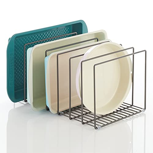 mDesign Metal Wire Organizer Rack for Kitchen Cabinet, Pantry, Shelves - Holder with 8 Slots for Skillets, Frying Pans, Lids, Cutting Boards, Vertical or Horizontal Placement, Wide Extra Large, Gray