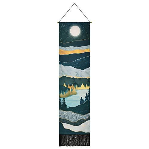Sunm Boutique Berg Wandteppich Mond Sternenhimmel Nachthimmel Tapestry Waldbaum See Wandbehang Natur Landschaft Wandteppich für Zimmer(Dunkelblau, 32.5X135cm)