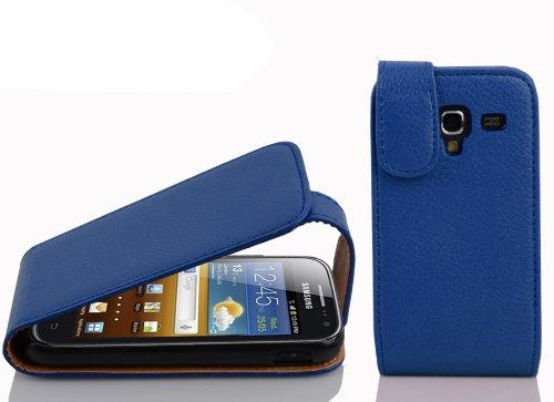 Cadorabo Hülle für Samsung Galaxy ACE 2 in KÖNIGS BLAU - Handyhülle im Flip Design aus Strukturiertem Kunstleder - Hülle Cover Schutzhülle Etui Tasche Book Klapp Style