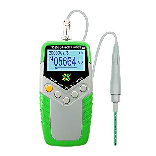 TD8620 Permanentmagnet-Gauß-Messgerät Handheld-Digitalmessgerät Magnetflussmesser Oberflächenmagnetfeldtest 5% Genauigkeit - Grün & Grau