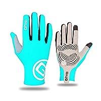 タッチスクリーンロングフルフィンガーゲルスポーツサイクリンググローブMTBロードバイク乗馬レーシンググローブ女性男性自転車手袋 (Color : Blue, Size : XXL)