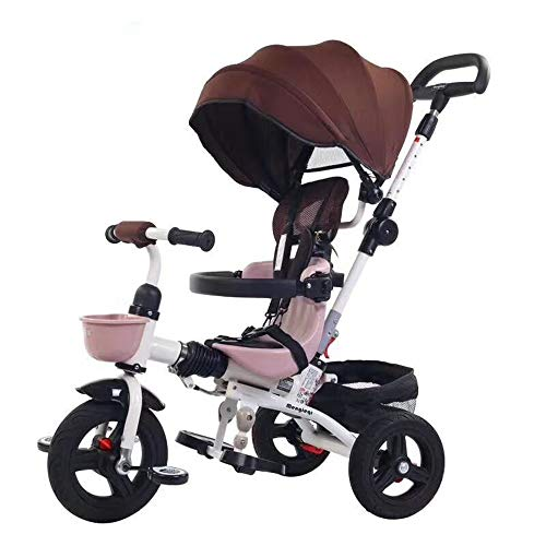 Read About Children Adjustable Safe Tricycle Kids Tricycle for Toddler Age 1-6 Year Old Bike Trike N Ride Push Handle Buggy Pram for Children and Kids Ages 2-4 Years Old (Color : Khaki, Size : One Size)
