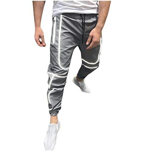Panty's, joggingbroek, brede broeken, modieus heren, reflecterende high visibility light jogging lange broek XX-Large grijs