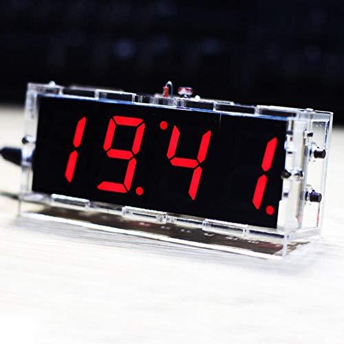 4 Stellige DIY LED Digitaluhr Kit, LED Uhr mit Uhrzeit/Temperatur/Datum Anzeigen, Automatischer Lichtsteuerung, Schlichte Digital Uhr Bausatz für Anfänger und Elektronik-Profi(Rot)