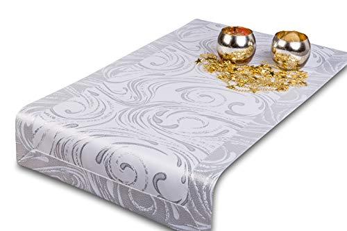GOLDMAR Tischläufer Elegante Weihnachtstischdecke aus 100% Polyester, schmutzabweisend, pflegeleicht, Tischdecke für Weihnachten, Partys, Weihnachtsessen !!! (Silber-muster-04, 35x90 cm)