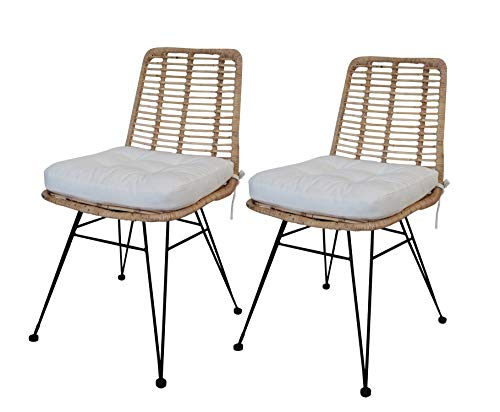 Muebletmoi – Juego de 2 sillas de ratán natural con patas de metal negro – Estilo exótico étnico bohemio Chic – Kandy