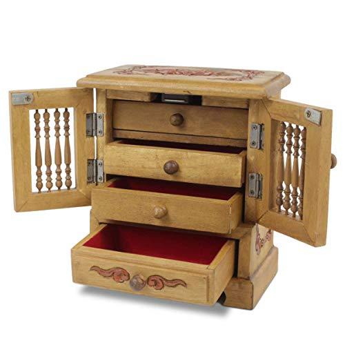 Oriental Galerie Schmuckschrank Schmuckschatulle Schränkchen Schmuckkasten Aufbewahrung Behälter Holz Kästchen 24 cm, Farbe:Braun