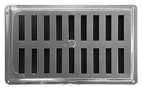 Regolabile Griglia di Ventilazione in Acciaio Inossidabile AISI 304 non Magnetico 22.5 x 15 cm.