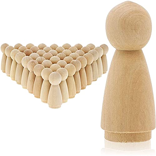 Wood Peg Dolls, Unfinished Doll Kit for Decorating (2 in, 50 Pack)