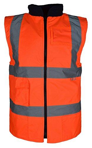 Gilet réversible haute visibilité pour homme en polaire de l'autre côté Grandes tailles S à 5XL - Orange - XXL