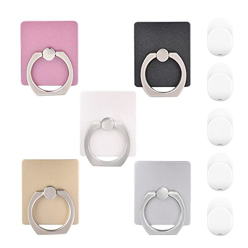 mowinifa816 AL145 Cell Phone Finger Ring Holder, IHUIXINHE Universal Smartphone Stand for iPhone 7 Plus 6 6S Galaxy S8 Edge, Contain 5 Hook - 5 Piece