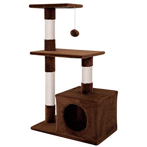 dibea Tiragraffi per gatto albero tiragraffi gatto gioco giocattolo gatti Altezza 85 cm Marrone
