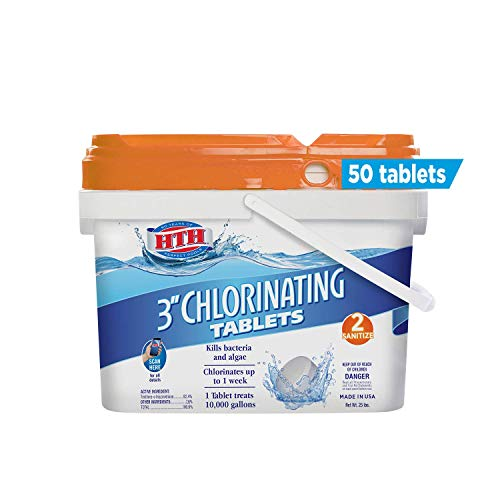 HTH 42030 3-inch Chlorinating Tablets Swimming Pool Chlorine, 37.5 lbs