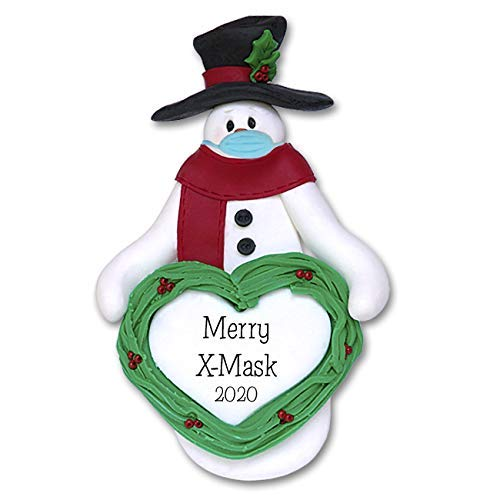Covid-19 Snowman w/Heart & Face Mask Pandemic Coronavirus Personalized Christmas Ornament