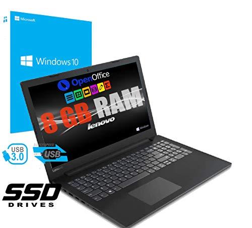 Notebook Pc Portatile Lenovo Display Led da 15.6' / Cpu Amd A4 2.30GHz / Ram 8Gb Ddr4 / Ssd 256gb / Grafica Radeon R3 / Hdmi / Masterizzatore / Wifi / Bluetooth /Web Cam / Open Office / Windows 10 pro