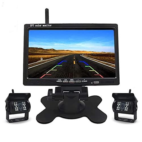HuangjinyeTY - Kit de 2 cámaras de visión Trasera de Respaldo inalámbrico para Monitor de Coche de 7 Pulgadas para autobús, camión, RV