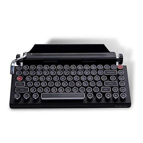 Qwerkywriter 2 Generation Retro Schreibmaschinentastatur, Bluetooth Drahtlose Mechanische Tastatur 84-Tasten-Unterstützung Für Kirschgrüne Achsen Für Windows Android IOS MacOS