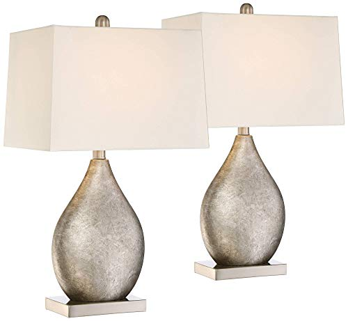 Royce Modern Table Lamps Set of 2 Silver Metal Teardrop Off White Rectangular Shade for Living Room Family Bedroom Bedside - 360 Lighting