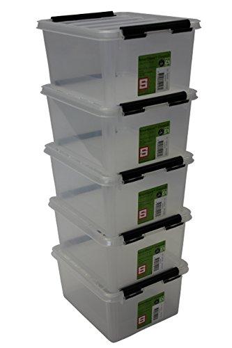 Orthex 35210705 5er Set Clipbox Smart Store Classic 2 Aufbewahrungsbox Plastik 21 x 17 x 11 cm, Transparent