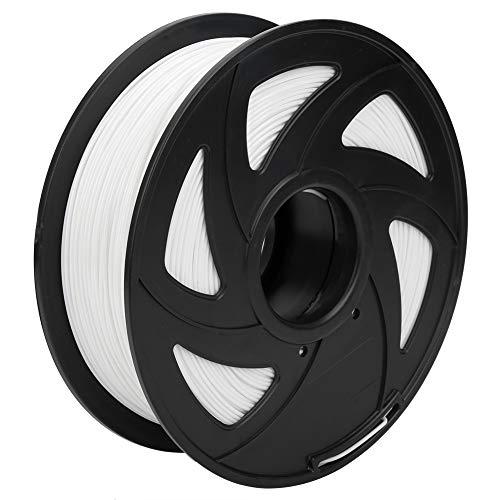 Filamento PLA bianco 1,75 mm, bobina da 1 kg (2,2 libbre) filamento di stampa, precisione dimensionale +/- 0,05 mm, adatto per la maggior parte delle stampanti FDM (bianco, confezione da 1)