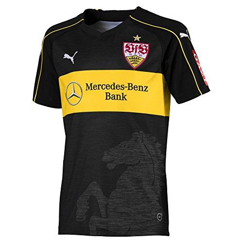 PUMA Kinder VfB Stuttgart 3rd Replica Shirt Jr w.Sponsor Trikot, Black-Dandelion, 164