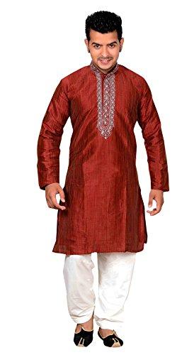 Desi Sarees Herren Gandhi Kragen Sherwani Designer Kurta Shalwar Kameez Partykleidung Pyjama 749 - Kastanienbraun, 36 (S - UK)