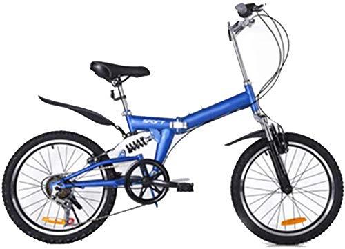 Portable Folding Bike for Adults Student 20-Inch Folding Bike Lightweight Folding Speed Bicycle Fold up Bike City Bike Women Men Student Damping Bicycle-Blue