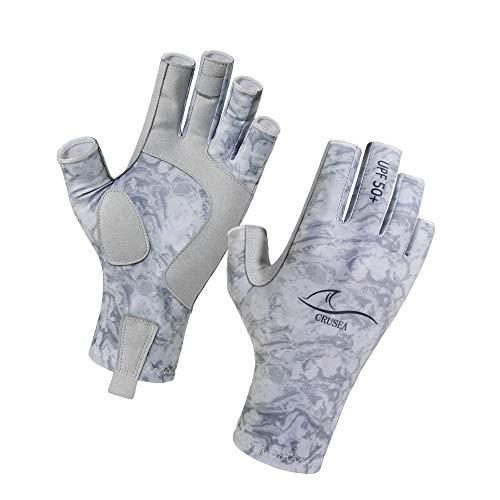 CRUSEA Fingerless Outdoor Gloves Sun Gloves UV Protection UPF50+Fishing Gloves Sun Protection Gloves Men Women for Kayaking, Fishing,Canoeing, Rowing, Hiking, Paddling, Driving, Cycling (Gray, L/XL)