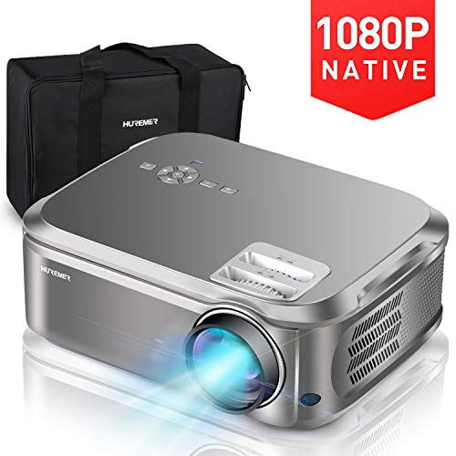 Vidéoprojecteur, HUREMER Projecteur Video Full HD LED 6500 Lumens 1080p (1920x1080) 4K Supporté, Correction de Trapèze 4D, HiFi Stereo, Multimédia Video Projecteur Portable pour Home Cinéma et Bureau