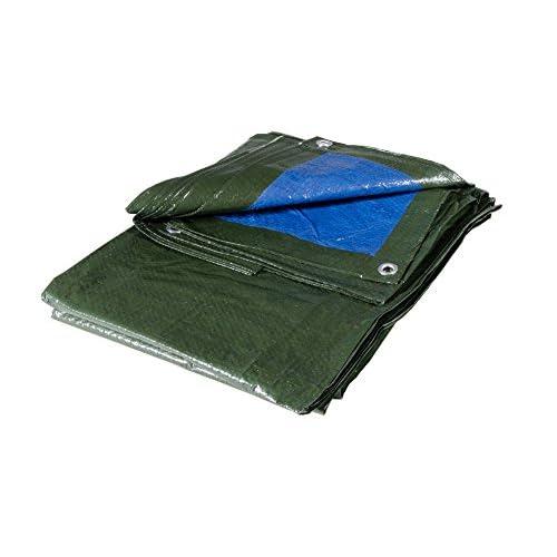 VERDELOOK Telo occhiellato Multiuso in polietilene, 5x4 m, Verde/Blu, coperture